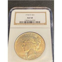 1934 s AU 50 NGC Peace Silver Dollar