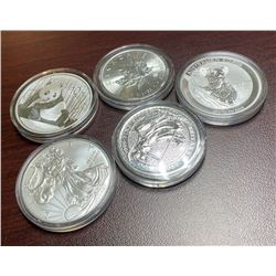 (5) Nations - 1 oz Silver bullion Set