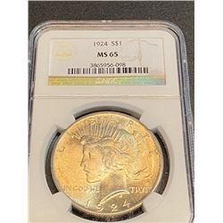 1924 MS 65 NGC Peace Silver Dollar