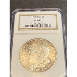 1885 CC MS 65 NGC Morgan Silver dollar