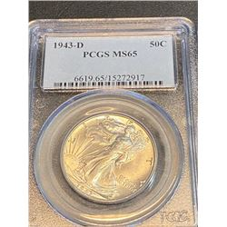 1943 d SM 65 PCGS Walking Liberty Half Dollar