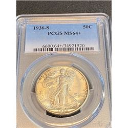 1936 s MS 64 + PCGS Walking Liberty Half Dollar