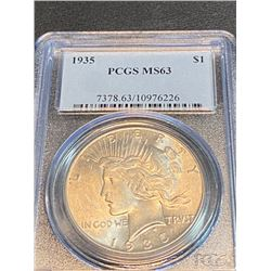 1935 MS 63 PCGS Peace Silver Dollar