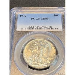 1942 MS 64 PCGS Walking Liberty Half Dollar