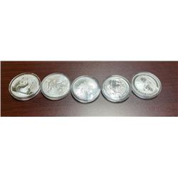 5- 1 oz. Silver Bullion - 5 Nation Set