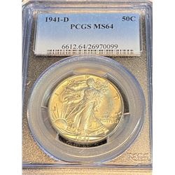 1941 D MS 64 PCGS Walking Liberty Half Dollar