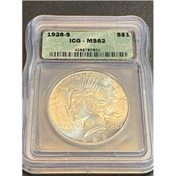1928 s MS 62 ICG Peace Silver Dollar