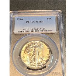 1946 MS 64 PCGS Walking Liberty Half Dollar