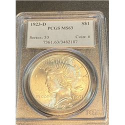 1923 D MS 63 PCGS Peace Silver Dollar