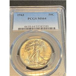 1943 MS 64 PCGS Walking Liberty Half Dollar