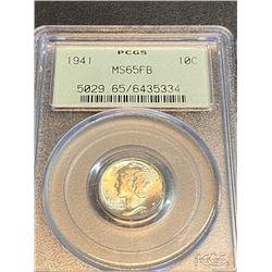 1941 MS 65 FB PCGS Mercury Dime