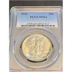 1935 MS 64 PCGS Walking Liberty Half Dollar
