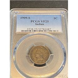 1909 s VF 25 PCGS Indian Head Cent