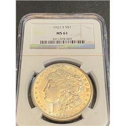 1921 S MS 61 NGC Morgan Silver Dollar