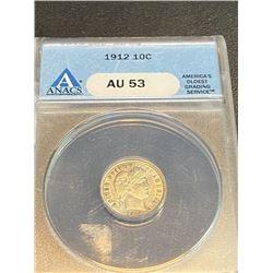 1912 AU 53 ANACS Blue Label Barber Dime