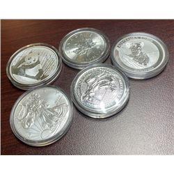 5- 1 oz Silver Bullion - 5 Nations