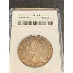 1806 EF 45 ANACS Draped Bust Half Dollar