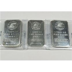 (3) Englehard 1 oz. Silver Bars