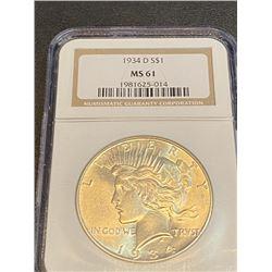 1934 d MS 61 NGC Peace Silver Dollar