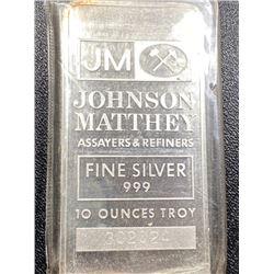 10 oz. Johnson Matthey Silver Bar