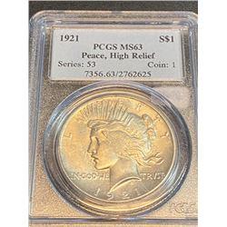 1921 Hi-Relief Peace Silver Dollar MS 63 PCGS