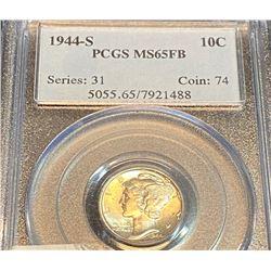 1944 s MS 65 FB PCGS Mercury Dime