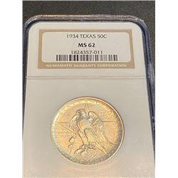1934 TEXAS MS 62 NGC Half Dollar
