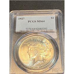 1927 MS 64 PCGS Peace Silver Dollar