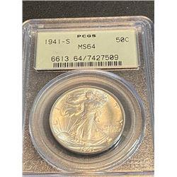 1941 s MS 64 PCGS Walking Liberty Half Dollar
