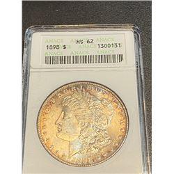 1898 MS 62 ANACS Morgan Silver Dollar