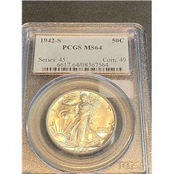 1942 s MS 64 PCGS Walking Liberty Half Dollar
