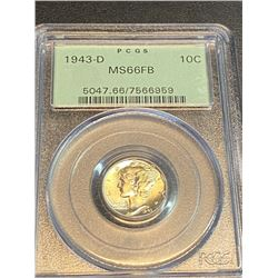 1943 MS 66 FB PCGS OGH Mercury Dime