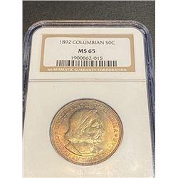 1892 MS 65 NGC Columbian Expo Half Dollar