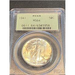 1941 MS 64 PCGS OGH Walking Liberty Half Dollar