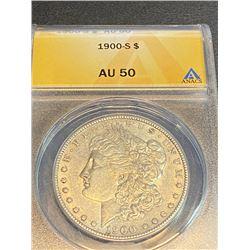1900 S AU 50 ANACS Morgan Silver Dollar