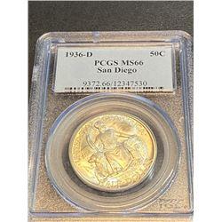 1936 D San Diego MS 66 PCGS Half Dollar