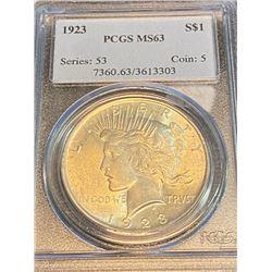 1923 MS 63 PCGS Peace Silver Dollar