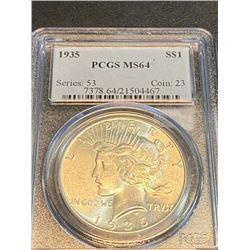 1935 MS 64 PCGS Peace Silver Dollar