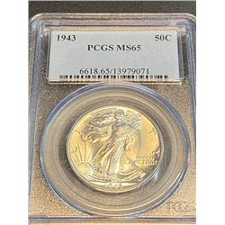 1943 MS 65 PCGS Walking Liberty Half Dollar
