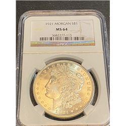 1921 Morgan MS 64 NGC Morgan Silver Dollar