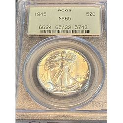 1945 MS 65 PCGS OGH Walking Liberty Half Dollar