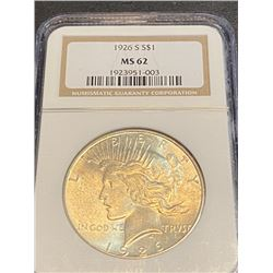 1926 s MS 62 NGC Peace Silver dollar