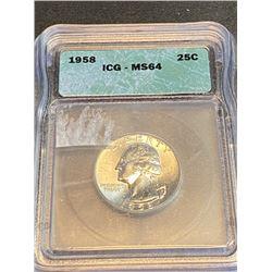 1958 MS 64 ICG Washington Quarter Dollar