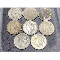 Lot of 8 US Silver Dollars - Mixed Morgan n Peace