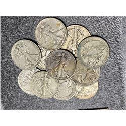 Lot of 11 Walking Liberty Half Dollars