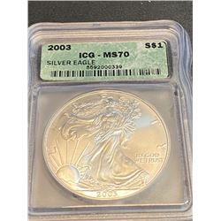 2003 MS 70  ICG US Silver Eagle Better Date