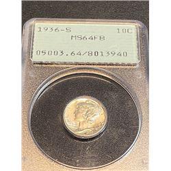 1936 S MS 64 FB OGR PCGS Mercury Dime