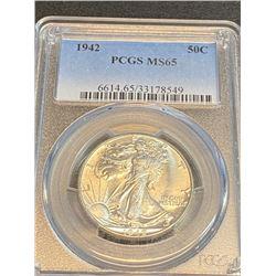 1942 MS 65 PCGS Walking Liberty Half Dollar