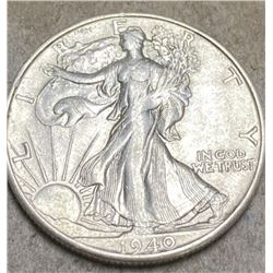 1940 S AU Grade Walking Liberty Half Dollar