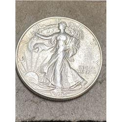 1945 P Walking Liberty Half Dollar AU Grade
